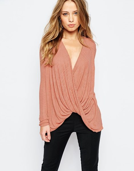 Y.a.s Tia wrap top in print in rose dawn - Top by Y.A.S. Lightweight, woven fabric Pinstripe print...