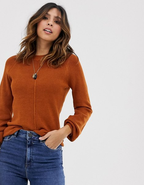 Y.a.s volume sleeve fine knit rib sweater in brown in caramelcafee