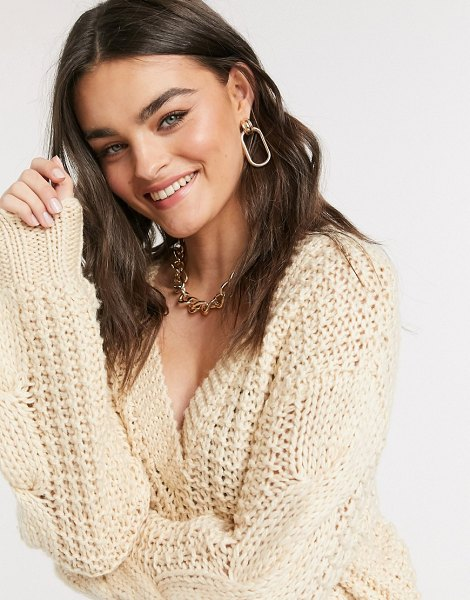 Y.a.s waffle knit sweater with v-neck in cream in cream