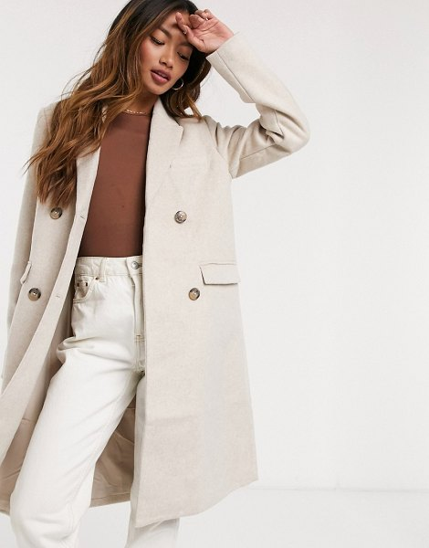 Y.a.s wool coat with double-breasted button closure in cream in cream