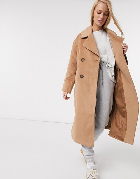 Y.a.s wool longline coat with tortoise shell buttons in camel-tan in tan