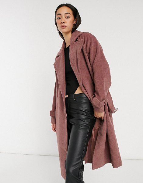 Y.a.s wool tailored coat with waist belt in mauve-pink in pink