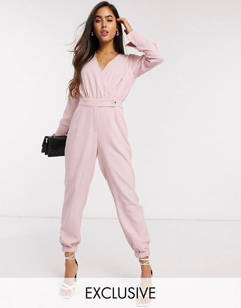 Y.a.s wrap jumpsuit with elasticated hem in pink in pink