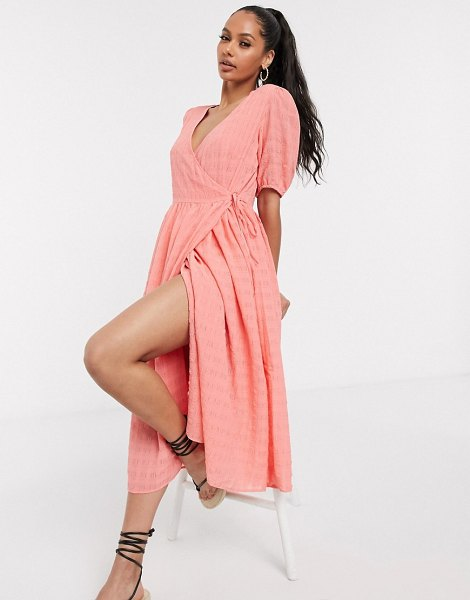 Y.a.s wrap midi dress with puff sleeve in textured peach-pink in pink