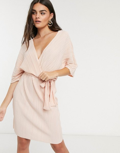Y.a.s wrap mini dress with kimono sleeve in pale pink plisse in pink