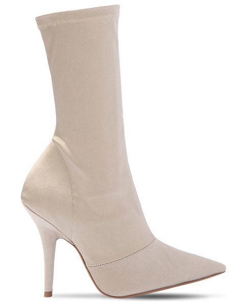 YEEZY 110mm stretch satin sock ankle boots in taupe - 110mm Satin covered heel. Stretch satin shaft. Ribbed...