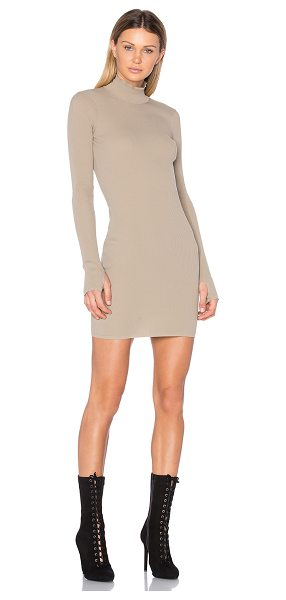 YEEZY Season 3 Long sleeve High Neck Midi Dress in beige - 100% polyamide. Hand wash cold. Unlined. Stretchy rib...