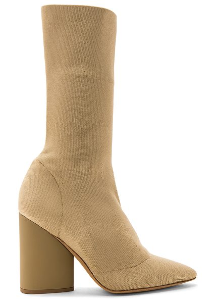 "YEEZY Season 4 Season 4 Low Knit Calf Boot in tan - ""Stretch textile upper with leather sole. Pull on..."