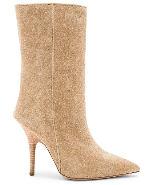 "YEEZY Season 5 Tubular Ankle Boot in beige - ""Suede upper with leather sole. Pull on styling. Heel..."