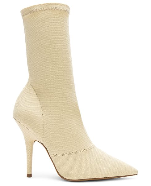 "YEEZY Season 6 Ankle Boot in cream - ""Stretch textile upper with leather sole. Pull on..."