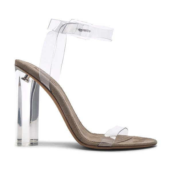 YEEZY Season 6 Ankle Strap PVC Heels in neutrals - PVC upper with leather sole.  Made in Italy.  Approx...