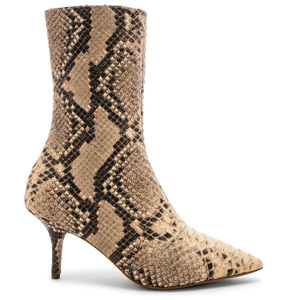 """YEEZY SEASON 7 Stretch Ankle Boot 70MM in beige - """"Snakeskin embossed leather upper with leather sole...."""