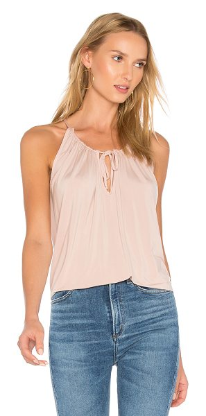 YFB CLOTHING Breeze Tank in pink - 96% cupro 4% spandex. Hand wash cold. Ruffled neckline...