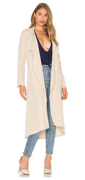 YFB CLOTHING Chicago Coat in camel - 100% tencel. Open draped front. Double welt pockets....
