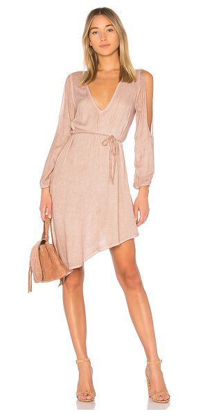 YFB CLOTHING Janelle Dress in taupe - 100% rayon. Unlined. Arm slits. Waist tie accent....