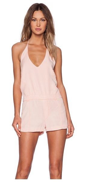 YFB CLOTHING Jules romper in peach - Viscose blend. Adjustable neck tie closure. Back patch...
