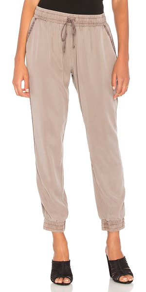 YFB CLOTHING Ollie Pant in taupe - 100% tencel. Elasticized drawstring waist. Side slant...