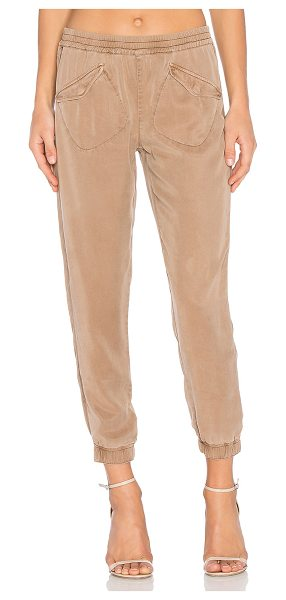 YFB CLOTHING Ronan Pant in taupe - Tencel blend. Hand wash cold. Elastic waist and leg...