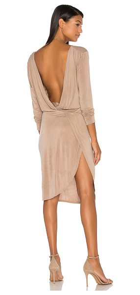 YFB CLOTHING Vamp Dress in toffee - Poly blend. Hand wash cold. Unlined. Deep V surplice...