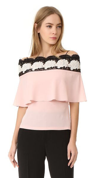Yigal Azrouel bare shoulder lace top in blush pink - Contrast guipure lace accents the off-shoulder neckline...