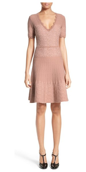 Yigal Azrouel knit jacquard fit & flare dress in dune - A band of textured snakeskin jacquard wraps around the...