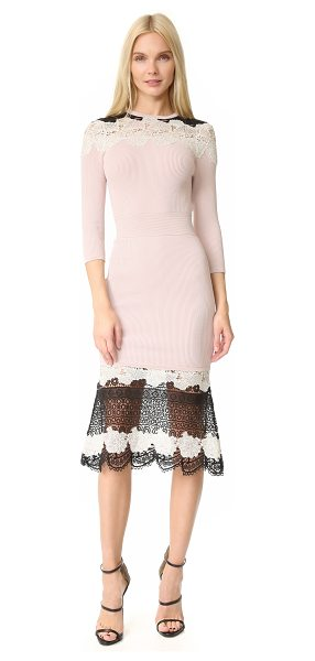 Yigal Azrouel lace dress in blush pink - This ribbed-knit Yigal Azrouel sheath dress is trimmed...