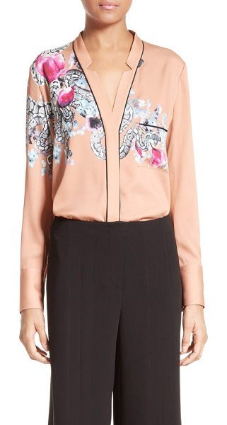 Yigal Azrouel serpent print blouse in dune - An artful snake coils around this flowy V-neck blouse,...