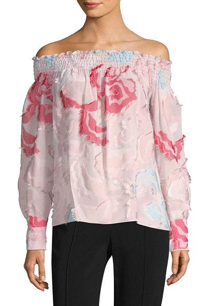 Yigal Azrouel smocked off-the-shoulder floral blouse in blush multi