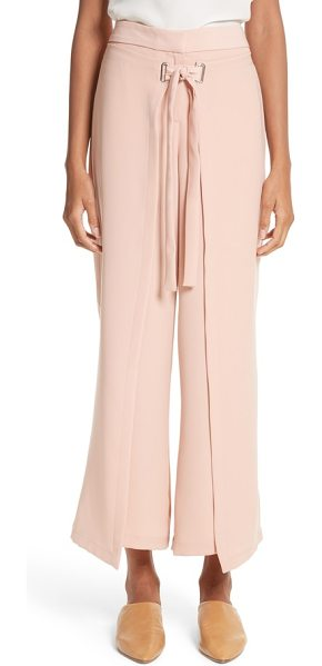 Yigal Azrouel tie front wrap pants in blush pink - Cropped, tailored trousers get a fashion-forward update...
