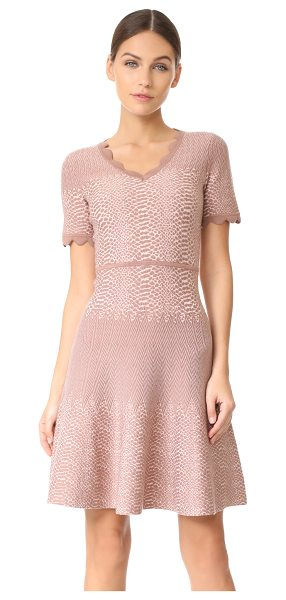 YIGAL AZROUEL v neck dress - Raised strands create spot and zigzag patterns on this...