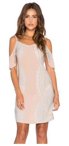 YIREH Mita cold shoulder dress in beige - 100% rayon. Hand wash cold. Unlined. Shoulder cut-outs...
