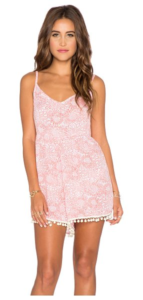 YIREH Wild daisy romper in coral - 100% rayon. Hand wash cold. Back zipper closure. Pom pom...
