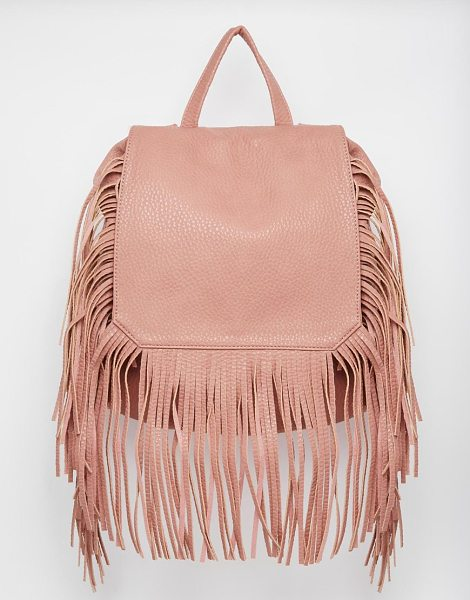 Yoki Fashion Backpack with fringing in light pink - Cart by Yoki Leather look Textured fabric Fold over flap...