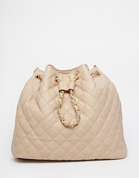 Yoki Fashion Multi strap bag backpack into shoulder in cream - Cart by Yoki Fashion Quilted leather-look fabric...