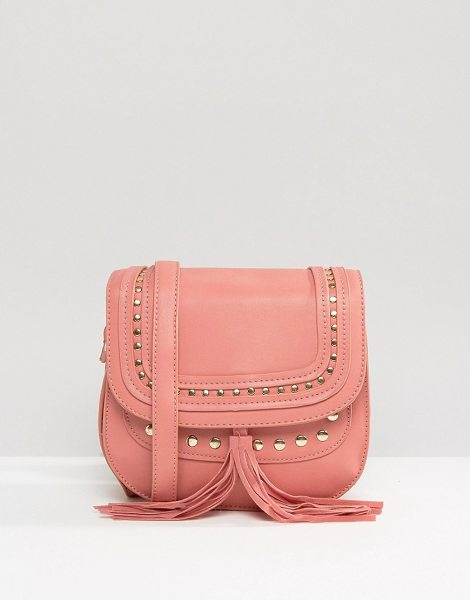 YOKI FASHION Saddle Cross Body Bag in pink - Cart by Yoki, Faux leather, Striped lining, Adjustable...