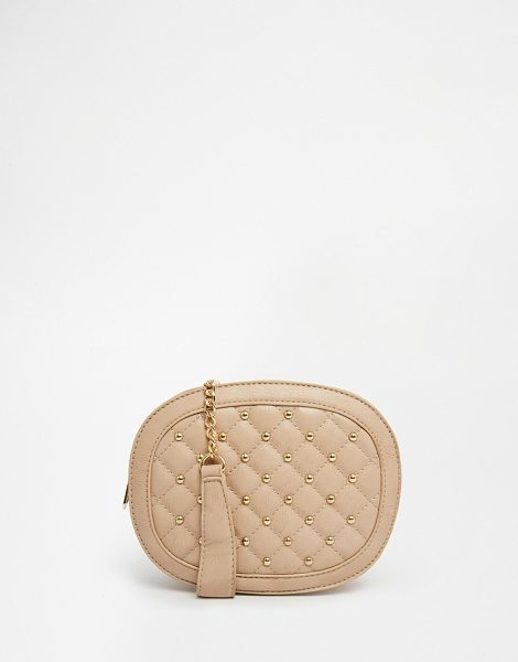 Yoki Fashion Studded and quilted mini cross body bag in cream - Cart by Yoki Leather look fabric Studded detail Quilted...