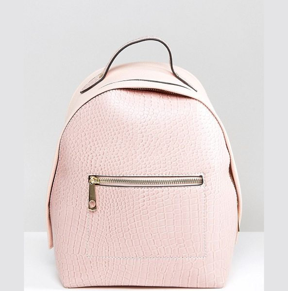 YOKI FASHION Yoki Croc Effect Backpack With Monochrome Strap in pink - Backpack by Yoki Fashion, Faux-leather outer,...
