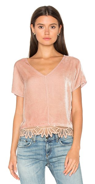 YORK STREET Cropped Top in blush - 82% rayon 18% silk. Dry clean only. Contrast lace trim...
