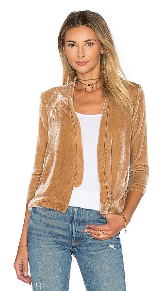 YORK street Slim Bolero Blazer in camel - Poly blend. Open front. Split back. YORR-WO7. V 1159.