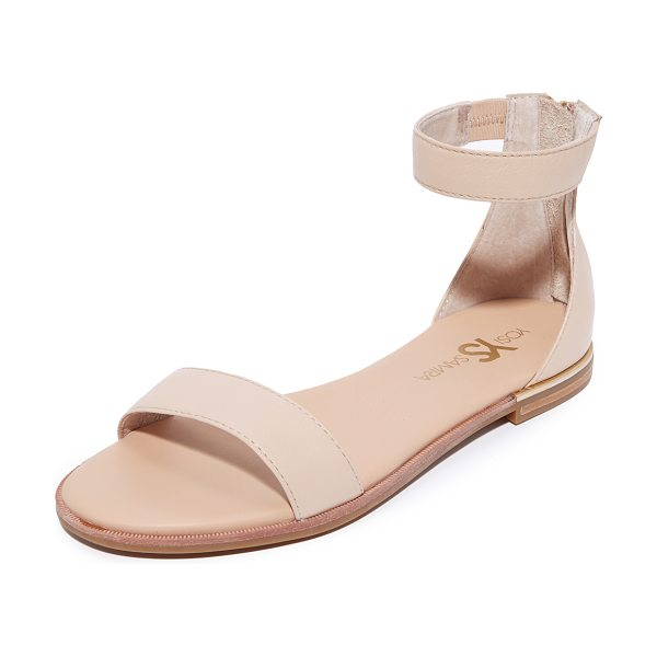 Yosi Samra cambelle ii sandals in nude - Leather Yosi Samra sandals with subtle metal trim at the...