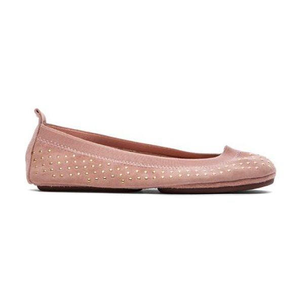 YOSI SAMRA Kid suede micro studded flat - Suede upper with rubber sole. Stud accents. Slip-on...