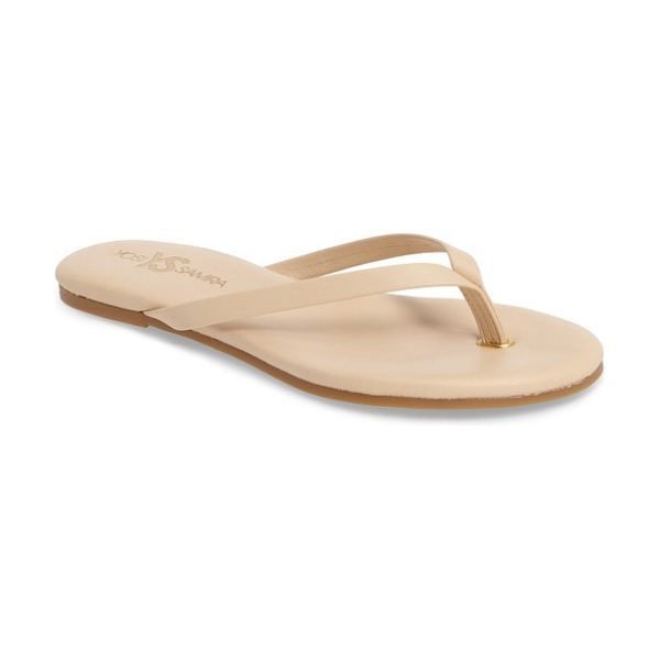 Yosi Samra rivington flip flop in nude leather - An ultra-cushy footbed and sleek leather straps...
