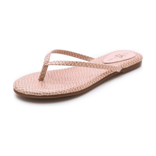 Yosi Samra Roee flip flops in ballet pink - Metallic foil accentuates the scale embossed texture of...