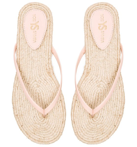 Yosi Samra Roee rope sandal in pink - Leather upper with rubber sole. Jute trim. YOSI-WZ194....