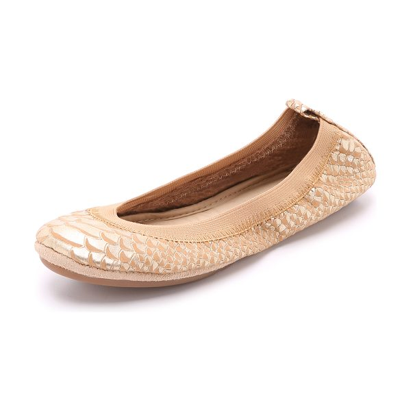 Yosi Samra Samara ballet flats in latte - Packable Yosi Samra ballet flats in embossed leather....