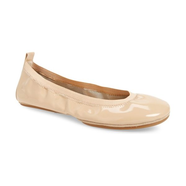 Yosi Samra samara foldable ballet flat in nude patent leather - An elastic topline perfects the fit of a glossy patent...