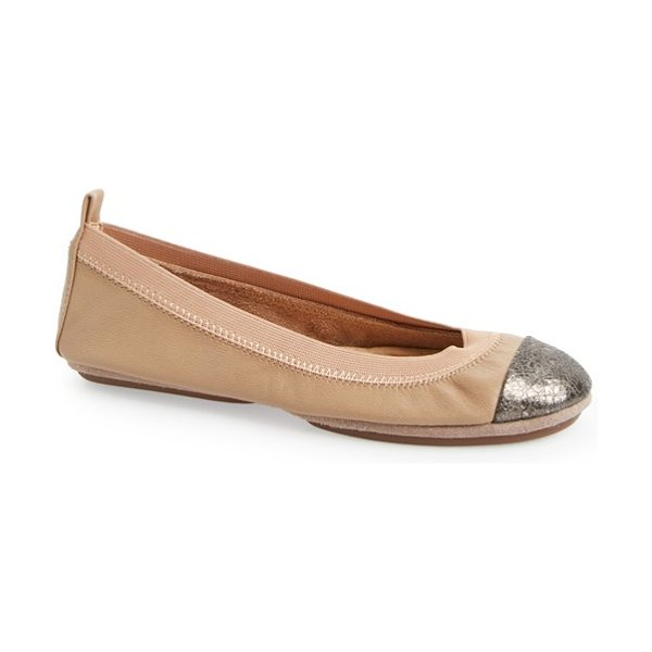 Yosi Samra samantha foldable ballet flat in rose/ pewter - An elastic topline perfects the fit of a smooth leather...