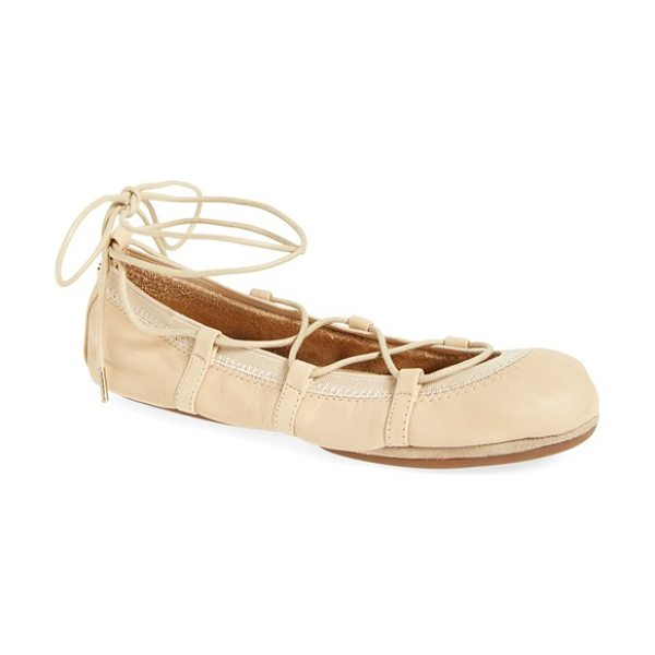 Yosi Samra seleste foldable ballet flat in light natural leather - Ghillie laces perfect the fit of a soft flat designed to...