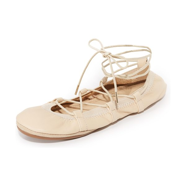 Yosi Samra seleste lace up flats in light natural - Lace up ties accent the top of these foldable leather...