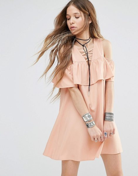 Young Bohemians Dress With Cold Shoulder Ruffle in beige